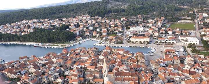 Stari Grad Town on Hvar from air